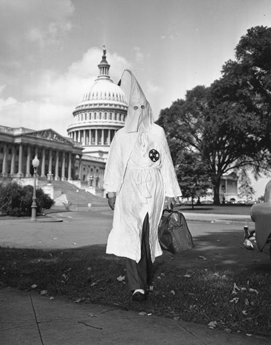 Kennedy undercover with the KKK. Photo from the Associated Press (1947).