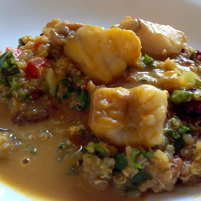 Curried Monkfish - monkfish was on sale so bought and curried in coconut milk and red curry then served over quinoa with broccolini, peppers and some pineapple.  #empoweredwellness #integratemorewholefoods
