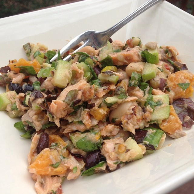 Salmon superfood salad - poached some salmon this week and of course made enough for a lunch salad later. Combined with clementines, beans, tamari, greens, peppers, walnuts and an orange and ginger flax oil vinaigrette.  #omega3monster #empoweredwellness  #integratemorewholefoods