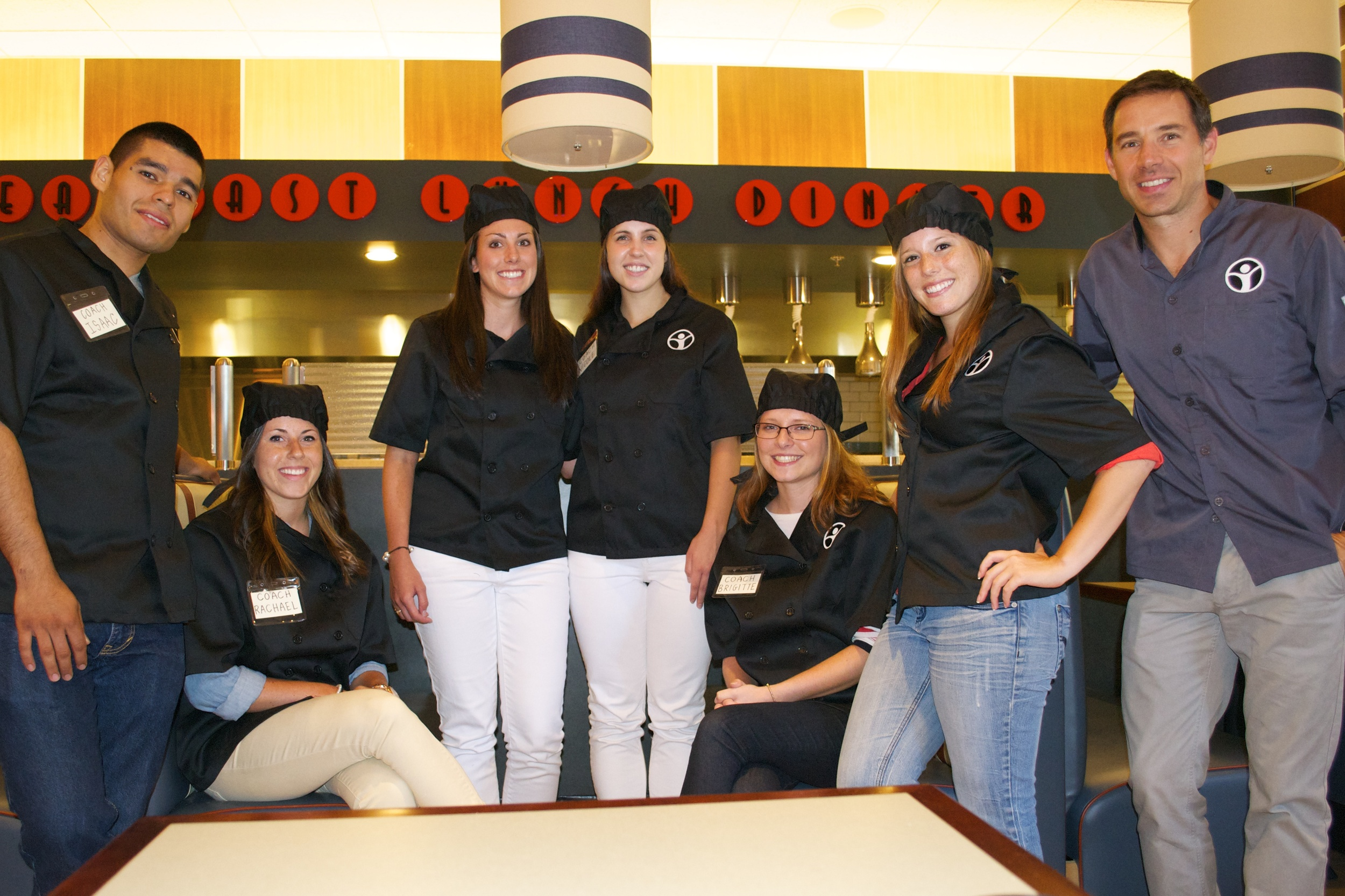 Restaurant Camp staff: (Left to right) Isaac, Rachael, Erika, Nicole, Brigitte, Holly and Ryan.