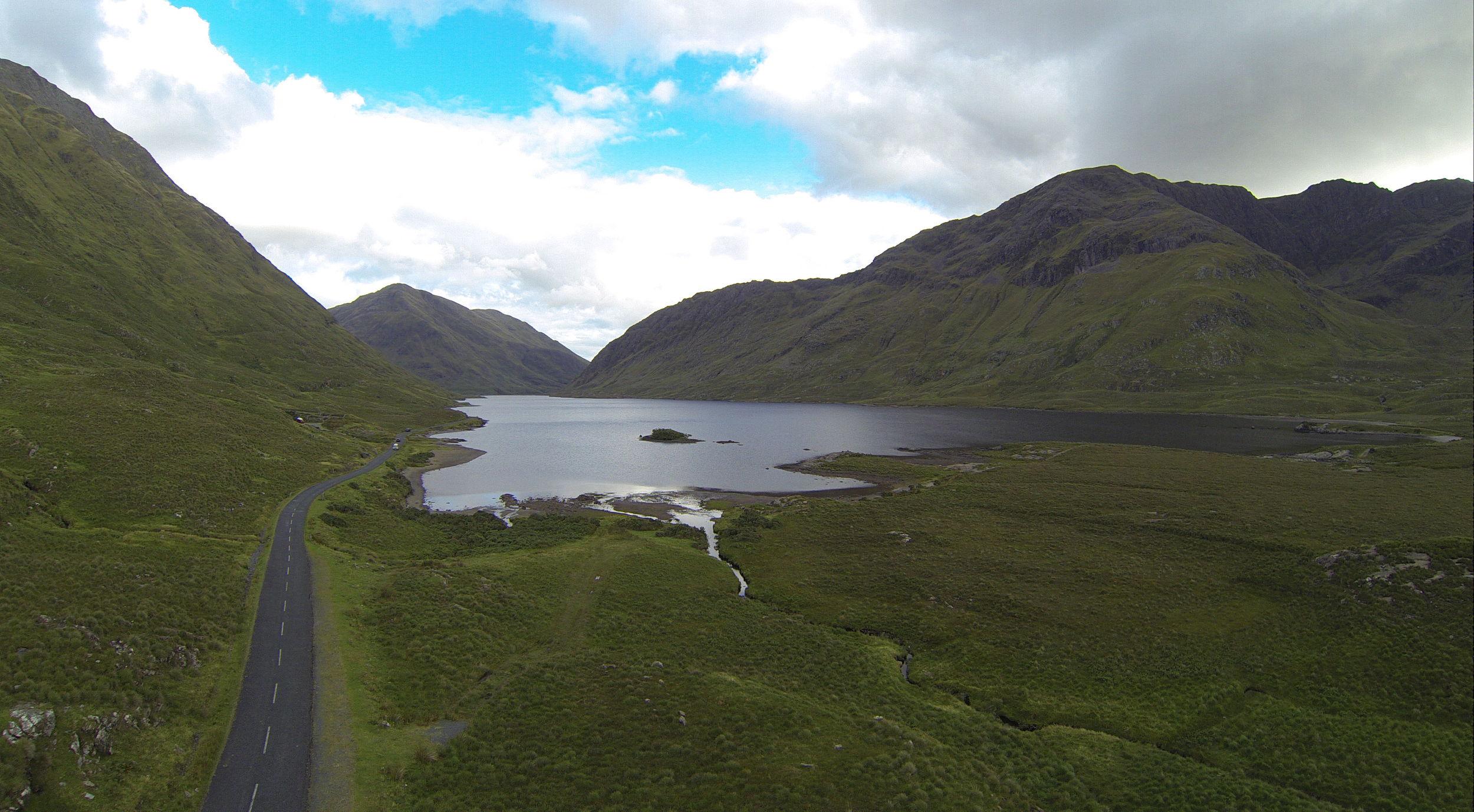 Aerial shot of Wild Atlanticon the Leenane road.
