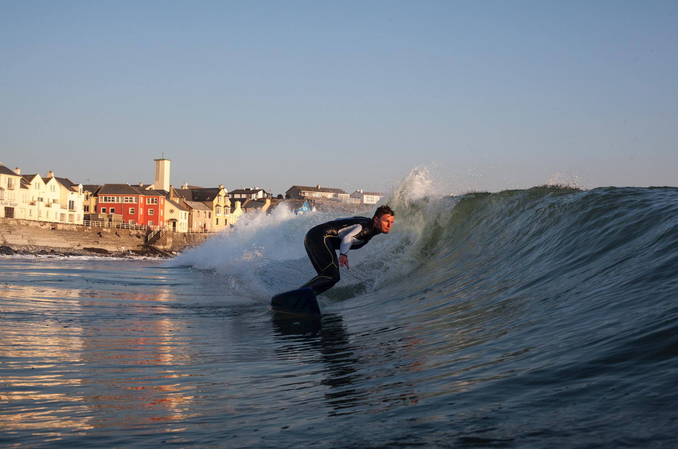 Ollie surfing Lahinch beach