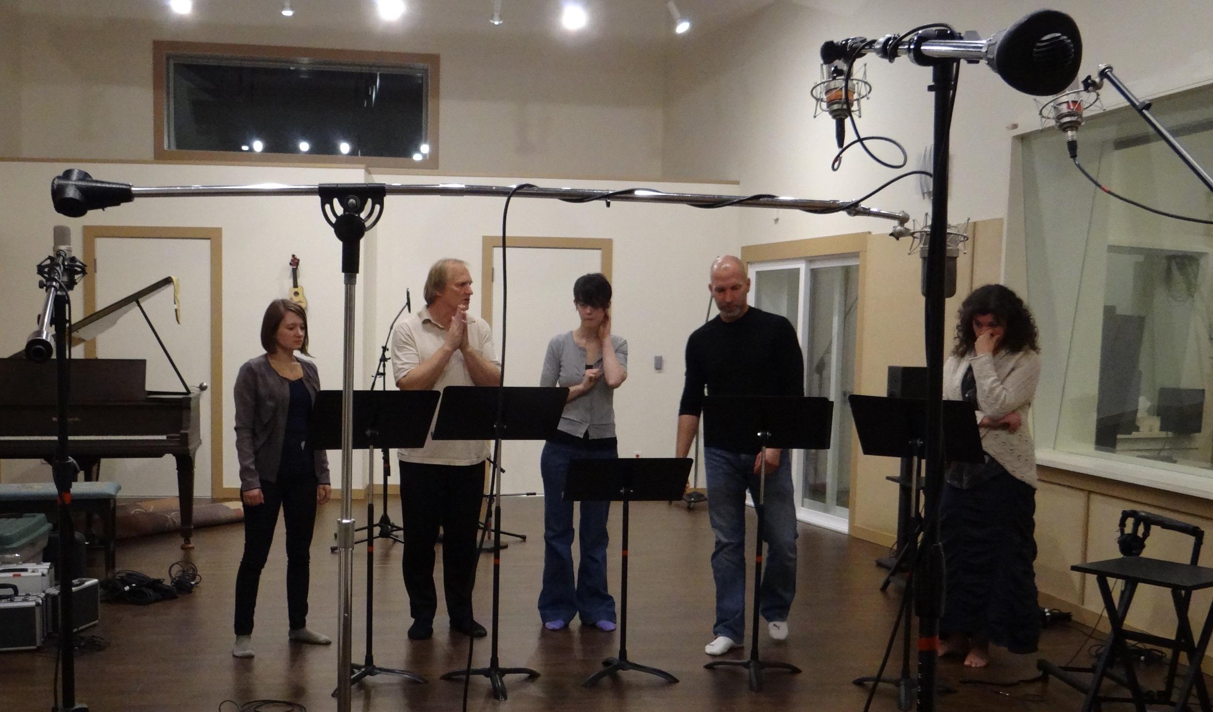 """Jack rehearses his fellow singers in the a capella, """"Introit"""" which leads off the album (Ashley Lacy, Jack, Rebecca Guthrie, Marcus Lehto,  Renee Schaberg) ."""