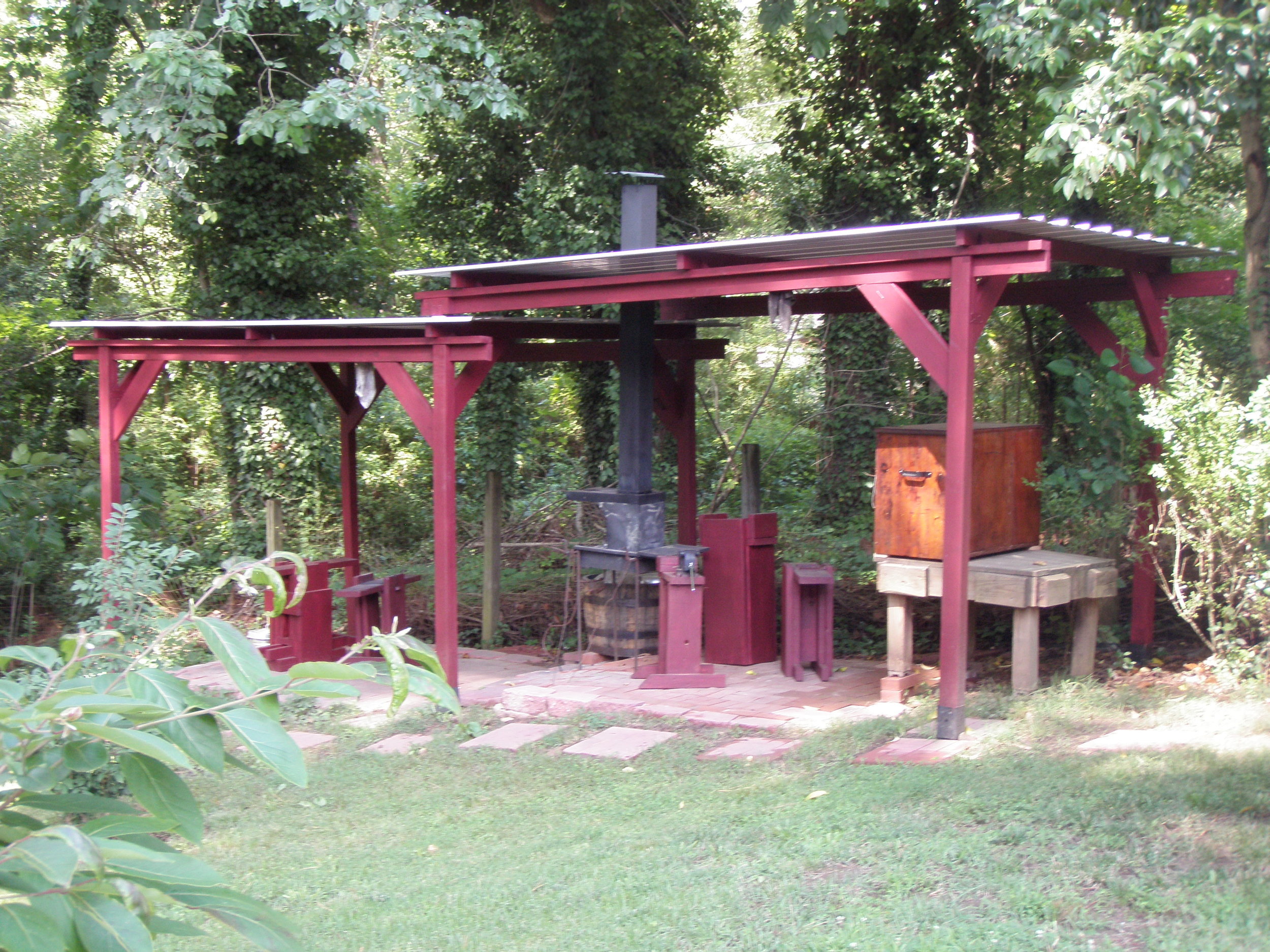 This is William Parker's forge, where he creates his unique works of art in support of human biome research.