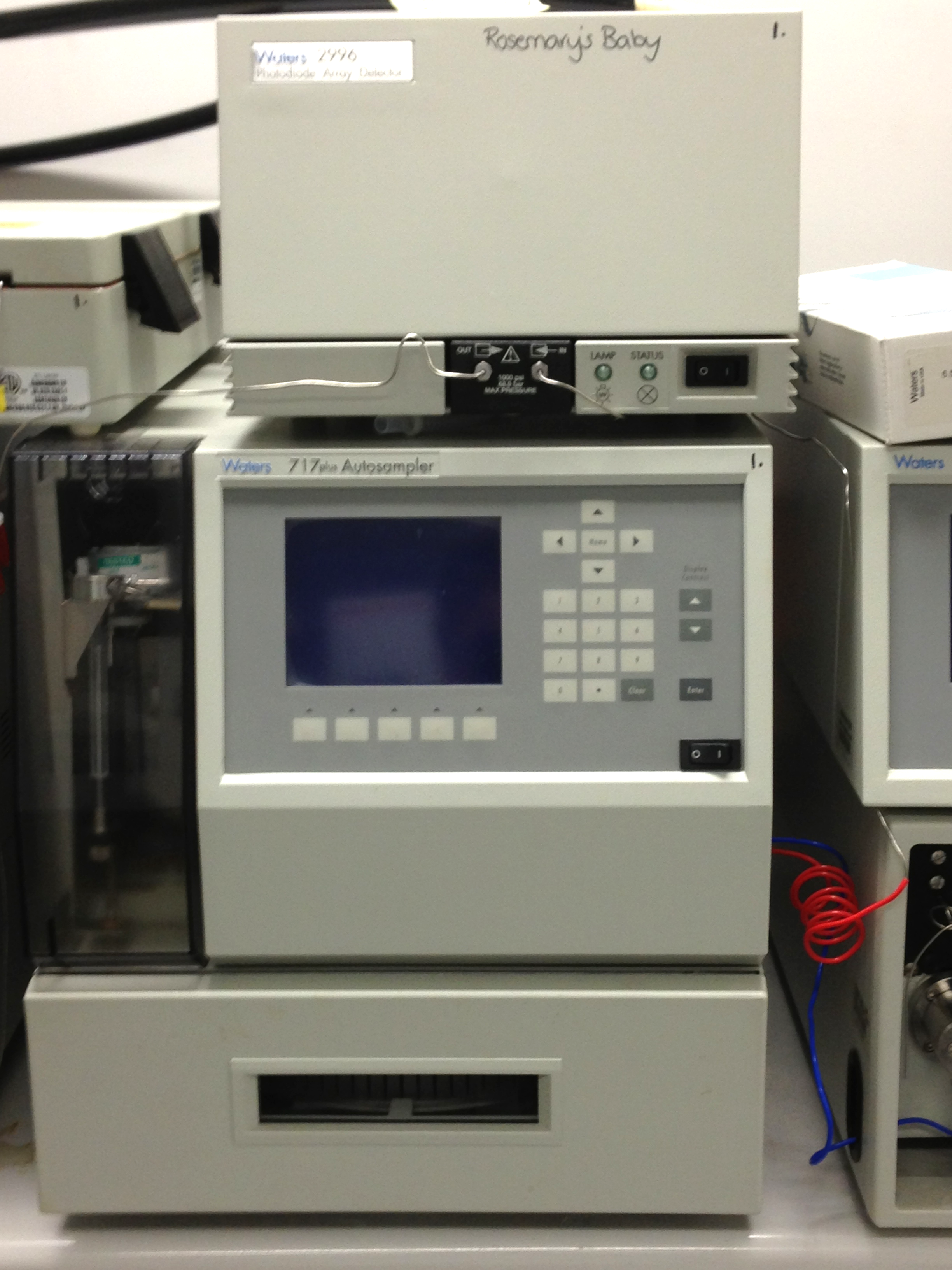 This machine performs high performance liquid chromatography. I took this photo during my visit to Monash University in 2013. Sales of the Monash University iphone/droid app support their research program.