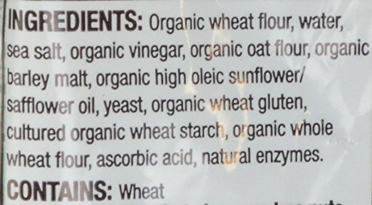 This is an example of a bread that is NOT suitable for a low-FODMAP diet. It might call itself sourdough on the front of the label, but the list of ingredients tells the real story: sour flavor provided courtesy of vinegar, and yeast is an ingredient. This manufacturer would not need to add yeast as an ingredient if this bread was made with a traditional sourdough process.