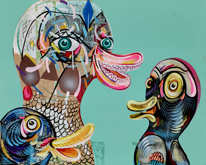 Quack Cackle and Squawk    Mixed media on wood panel  2014  8 x 10 In  SOLD