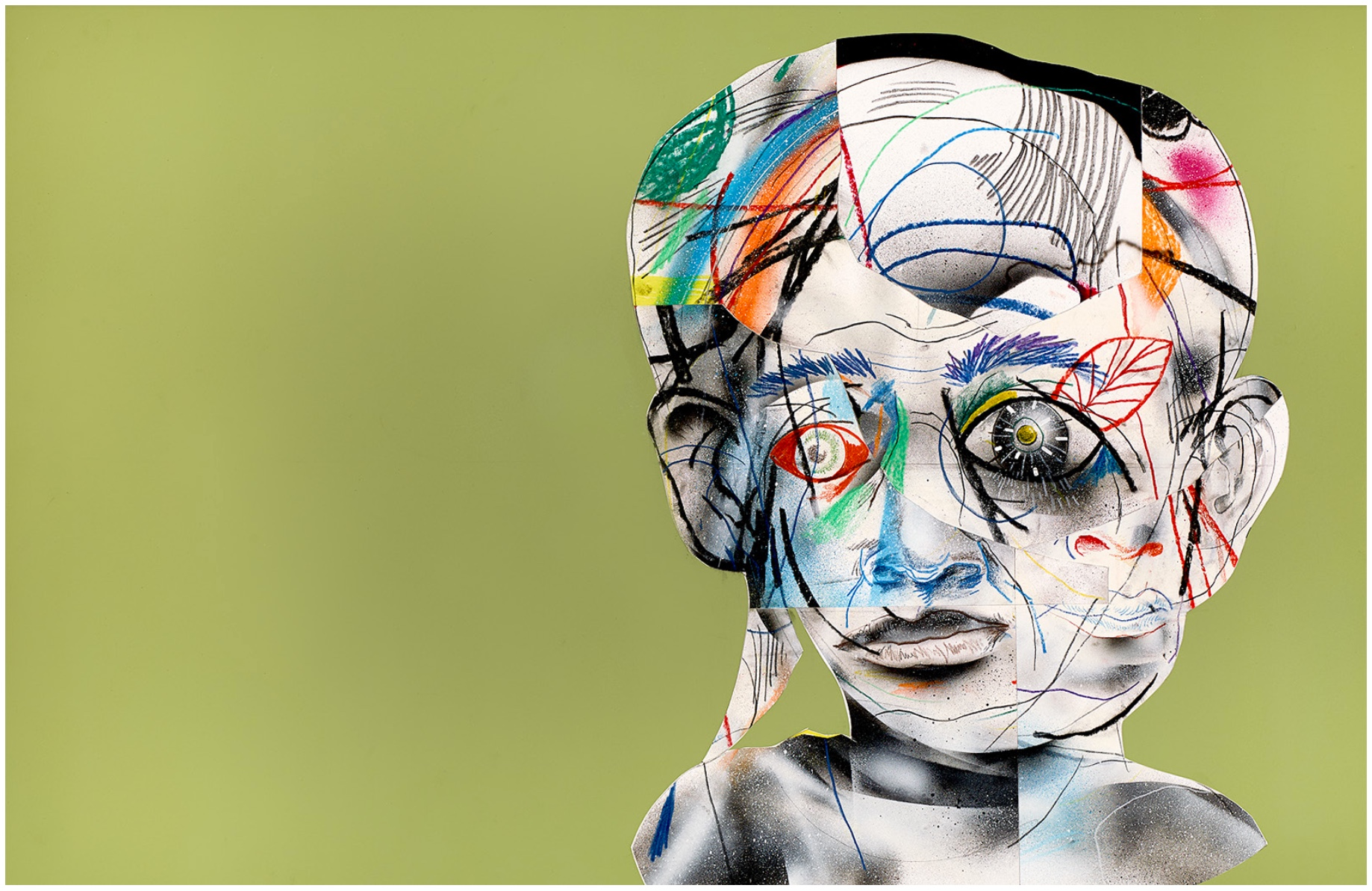 Complicated   (Light green)  Mixed media on paper  2013  37 x 25 In  $6,500.00