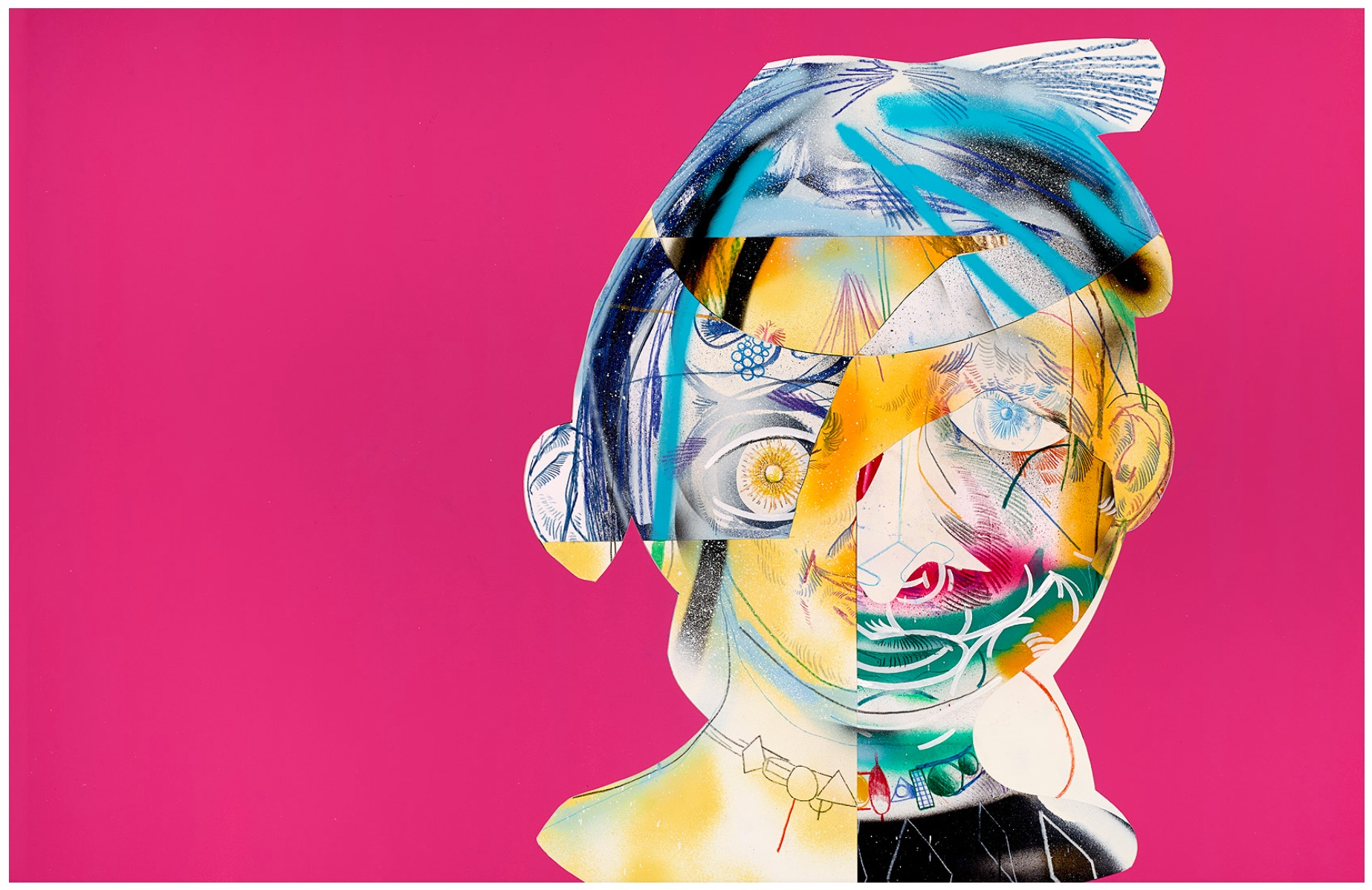 Complicated   (Pink)  Mixed media on paper  2013  37 x 25 In  $6,500.00