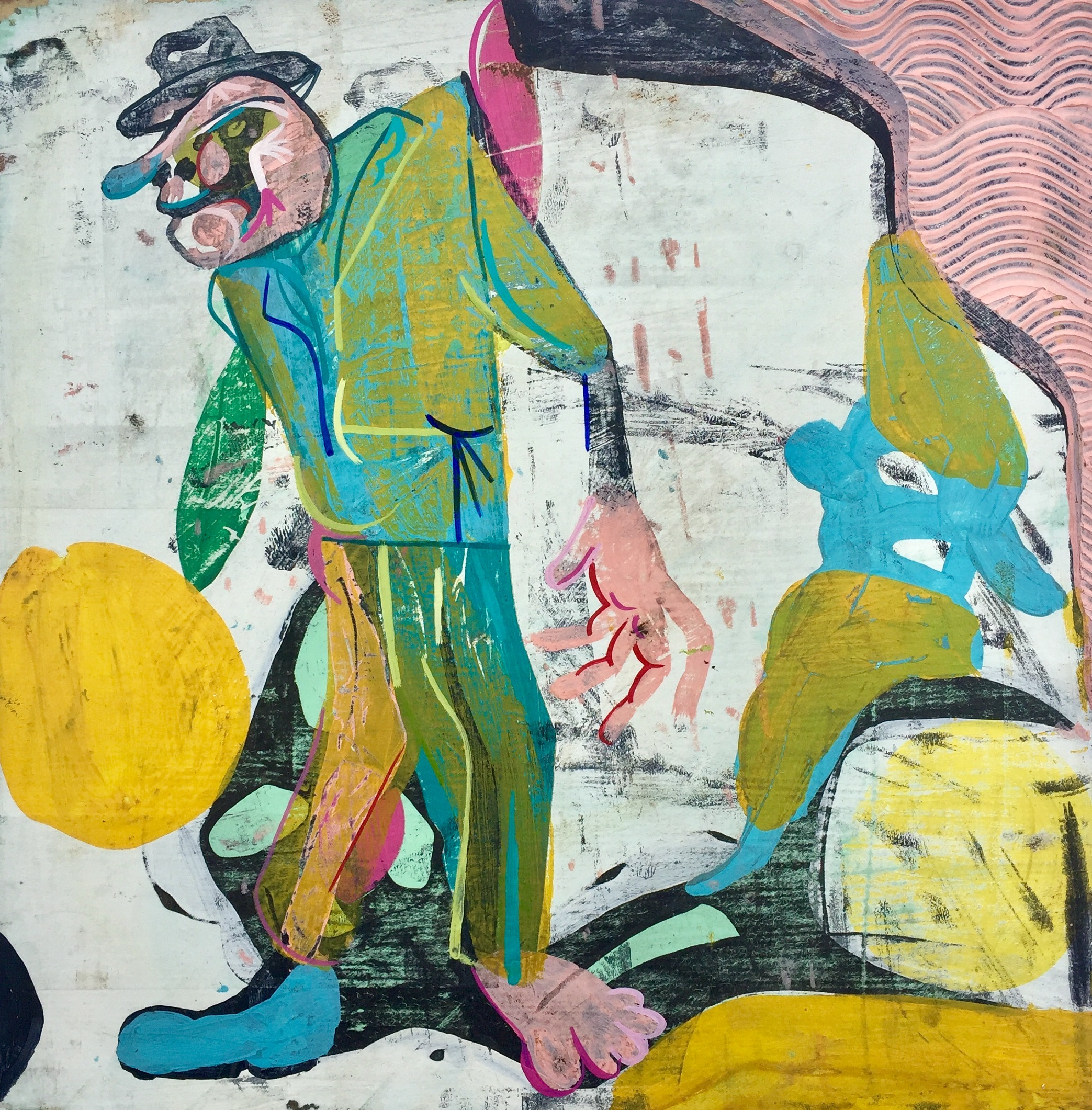 Stand Up     Mixed media on wood panel  2014  11.75 x 11.75 In  $4,000.00