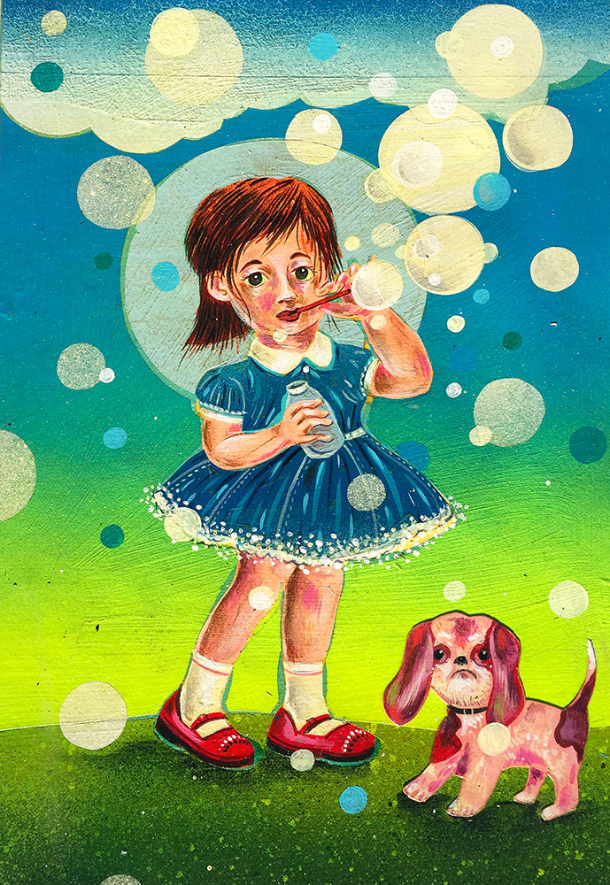 Bubble Girl     Mixed media on paper  2010  9 x 12 In  $2,500.00