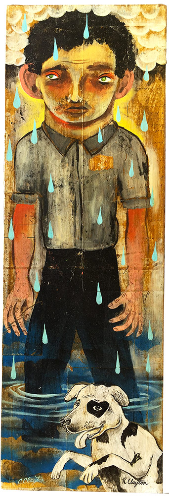 Untitled   (Boy and his dog)  Mixed media on wood panel  2002  $3,500.00