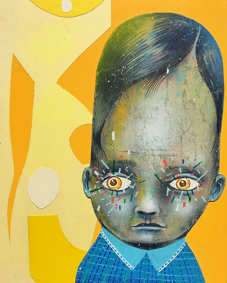 Glance     Mixed media on wood panel  2015  8 x 10 x 1.75 In  $2,500.00