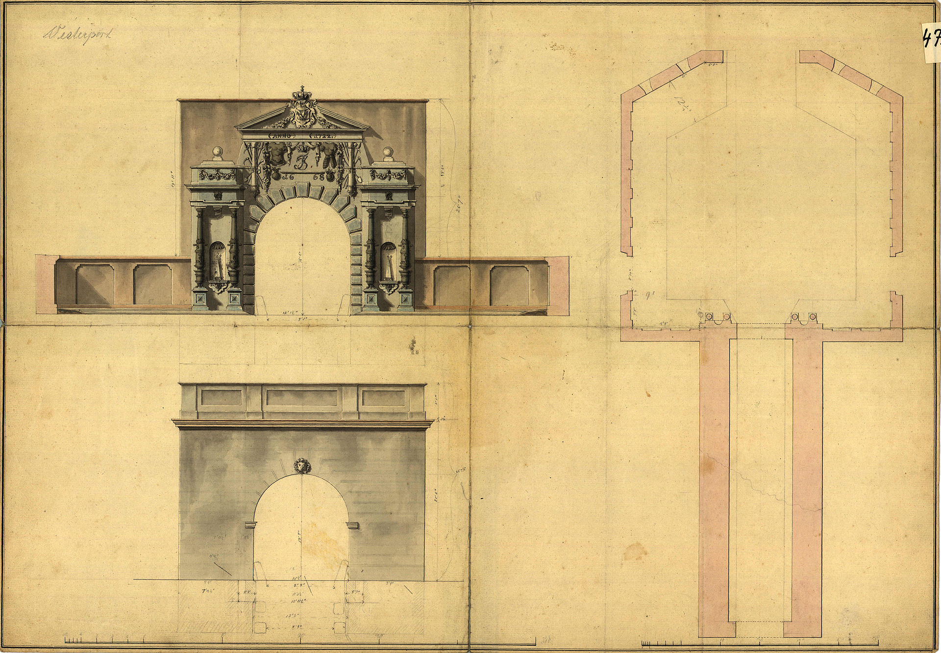 A drawing of Vesterport showing the outer and inward facing arches and the plan showing the tunnel through the embakment