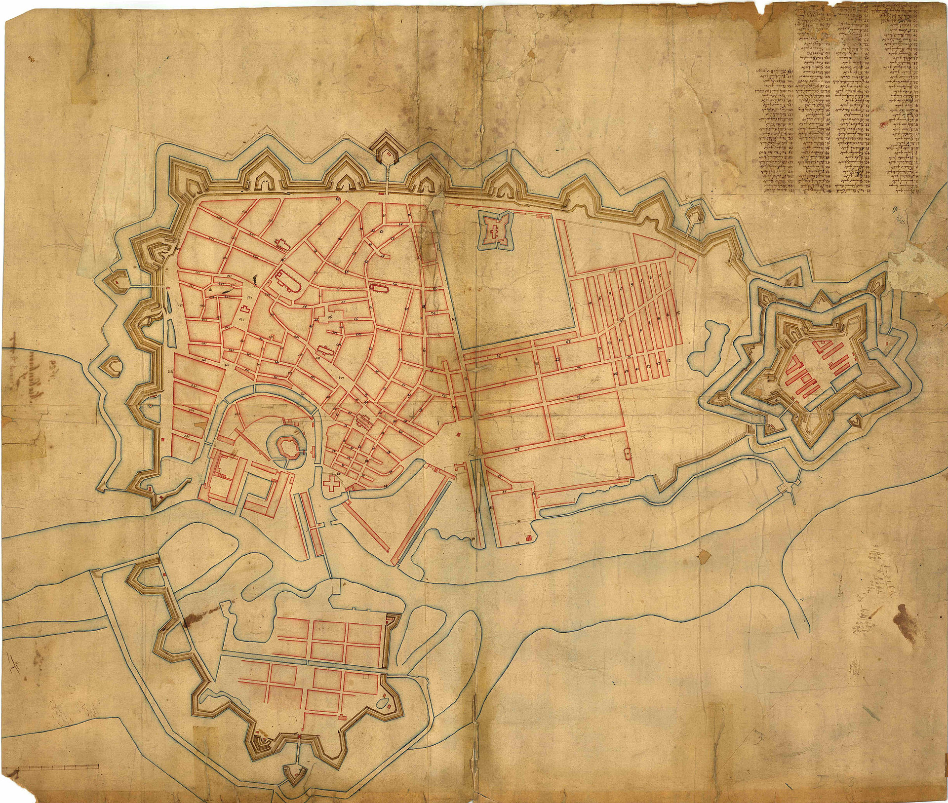 A map of 1685. Here it has been turned deliberately so that it is orientated to compare directly with the view of the city. The castle of Christiansborg is relatively obvious - centre left. The new Borsen has a canal on both long sides and runs down to a bridge over the harbour. Nyhavn is towards the centre of the map with the rope works and ship yard to its left. Rosenborg with its garden is here at the top of the map within newly extended embankments and Kastellet begun in 1662 is shown on the far right of the map with the Nyboder houses as a regular grid of streets between. Christianshavn is the fortified settlement on the opposite side of the harbour to the Castle and the city. This map dates from before the new dockyards of Holmen were constructed.
