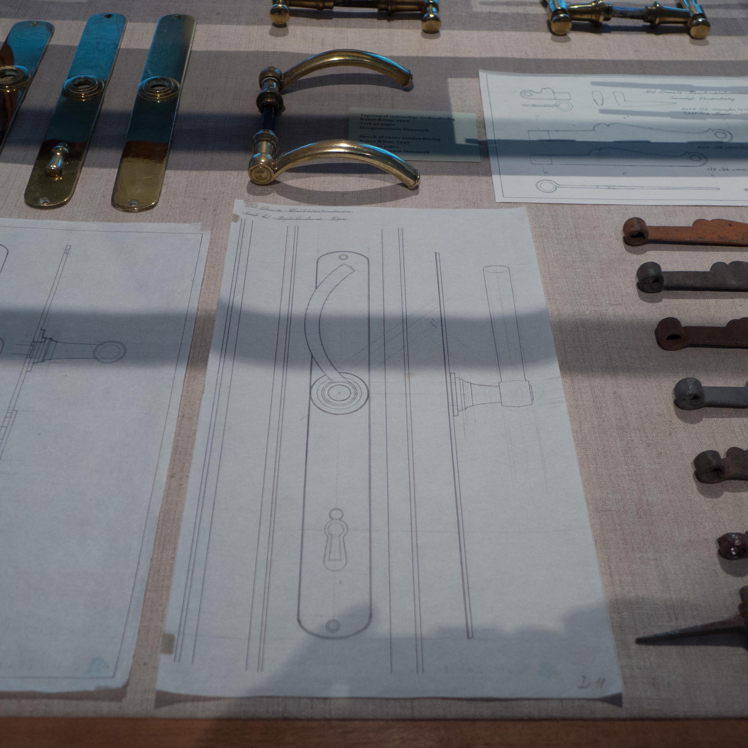 Drawings by Kaare Klint for door fittings