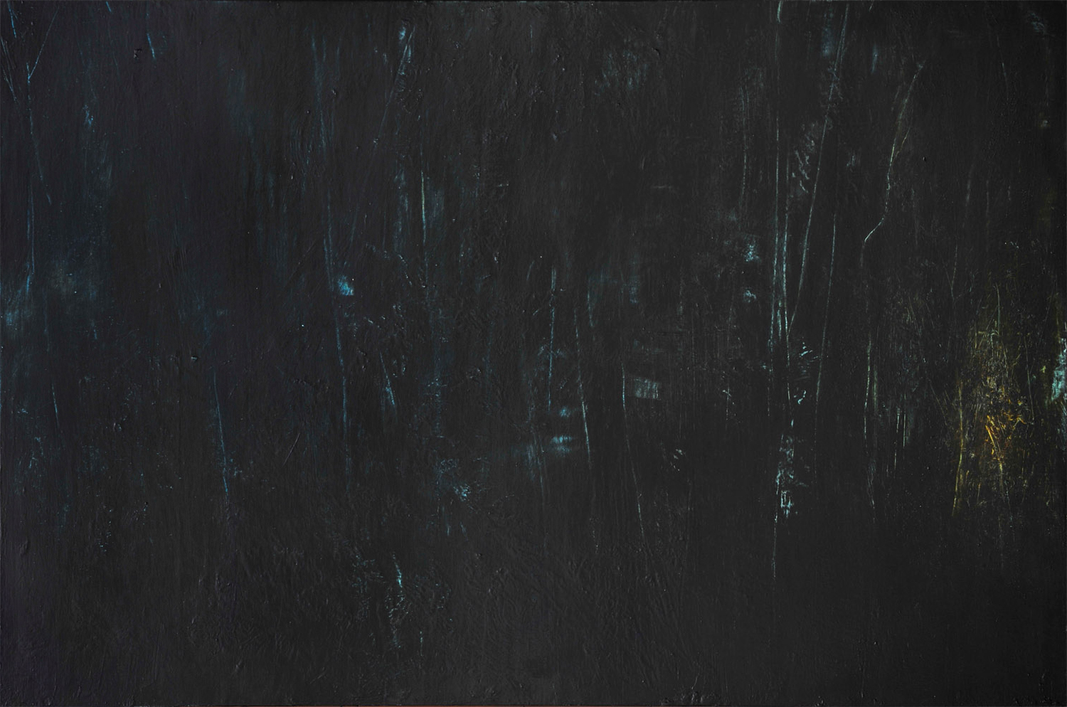"WOODS AT NIGHT                                                                                                                                               36"" x 24"" — Oil over aluminum silver leaf on panel    $3000.00"
