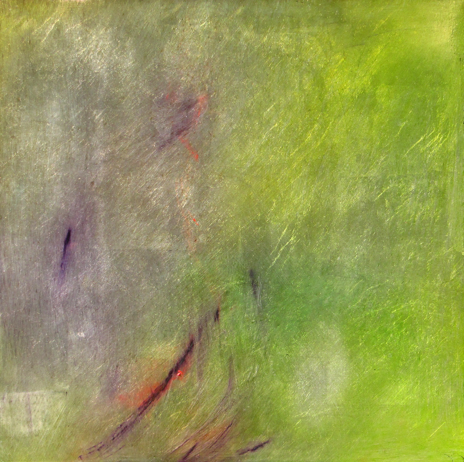 """UNDERCURRENT OF SOMETHING SPRING    (SOLD)    18"""" x 18""""— Oil over aluminum silver leaf on panel    $1000.00"""
