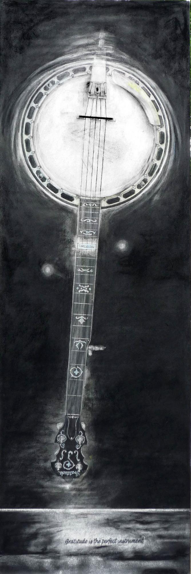"""BANJO MOON     24"""" x 72"""" — Charcoal on paper mounted on archival board, framed in plexiglas box.    $4500.00"""