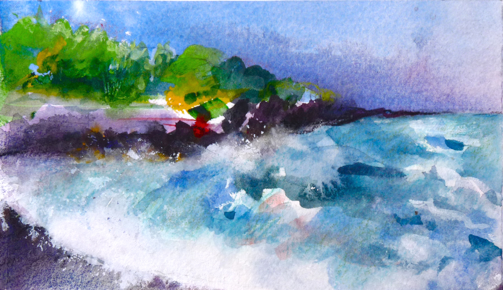 "THE BIG ISLAND        (SOLD)    6"" x 8"" — Watercolor on w/c paper"