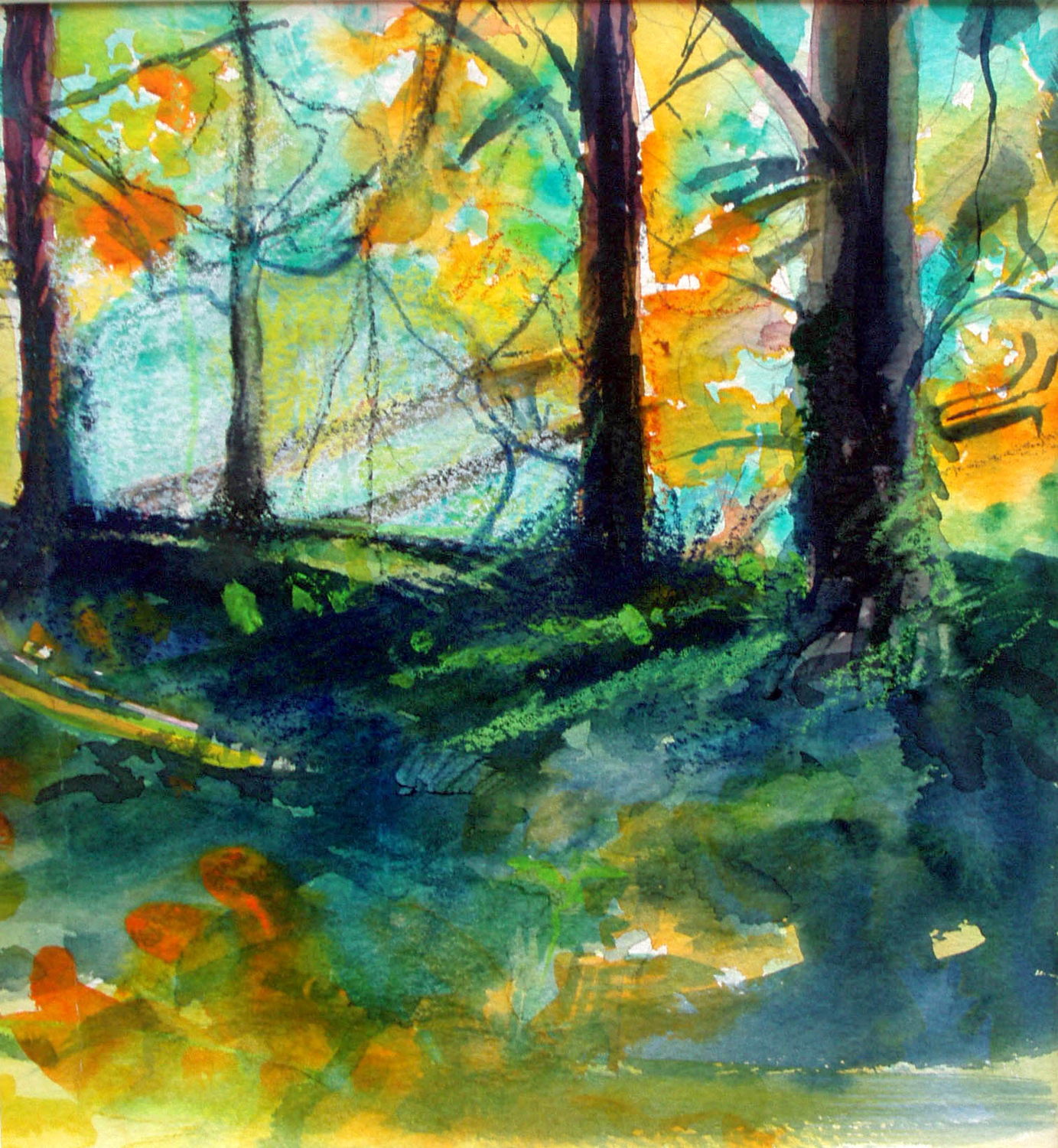"""DEEP WOODS   (SOLD)    9 1/4"""" x 10"""" —Watercolor and color pencil on w/c paper    $600"""