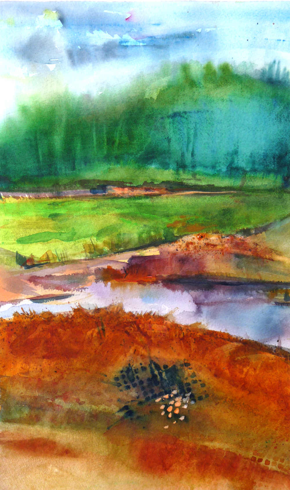 """OLD NASHVILLE CLAY PITS     9"""" X 14"""" —Watercolor on w/c paper, 17"""" x 21"""" framed    $600.00"""