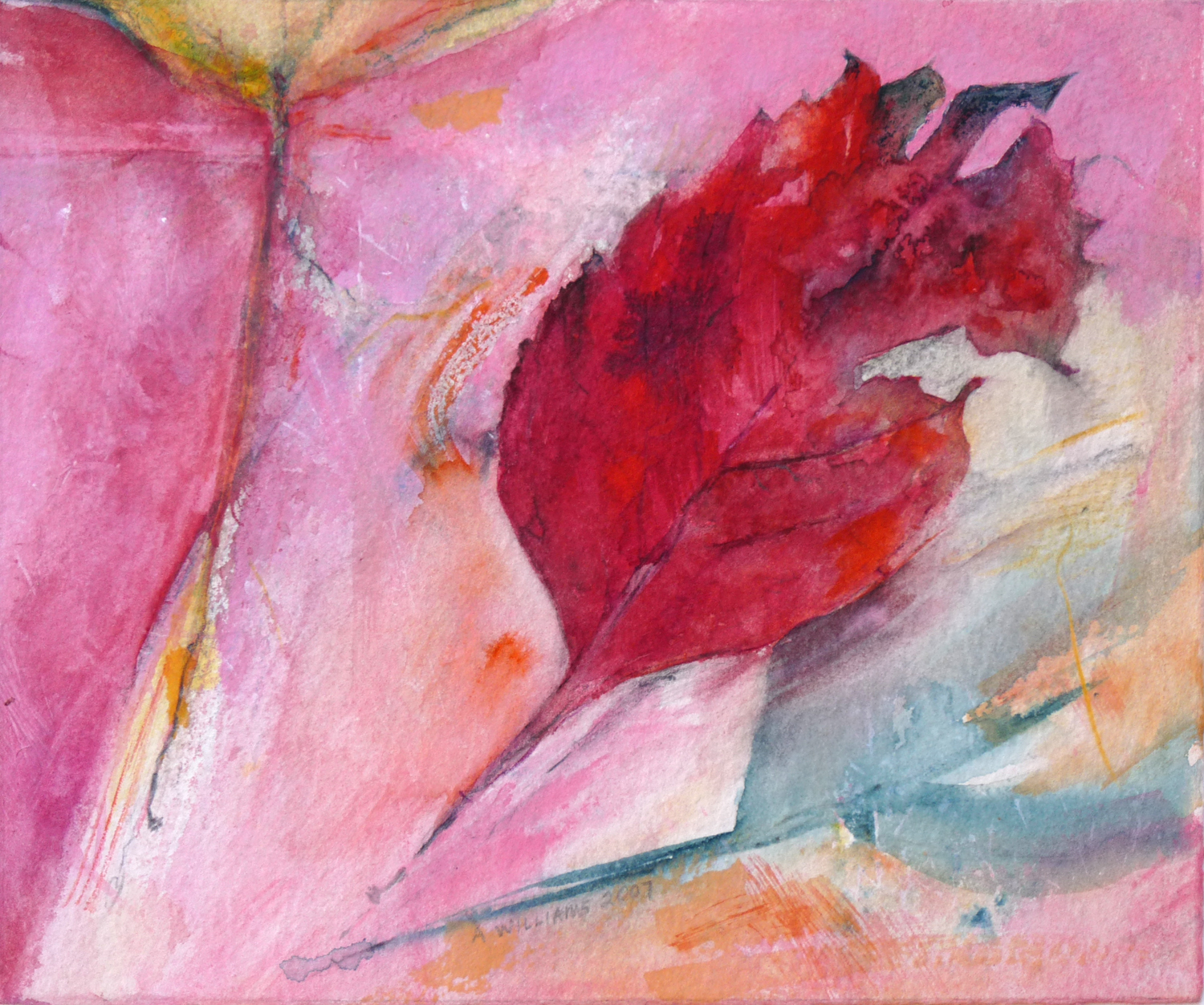 """PINK OCTOBER     7 1/4"""" x 8 1/2"""" —Watercolor on w/c paper    14"""" x 17"""" matted    $600.00"""