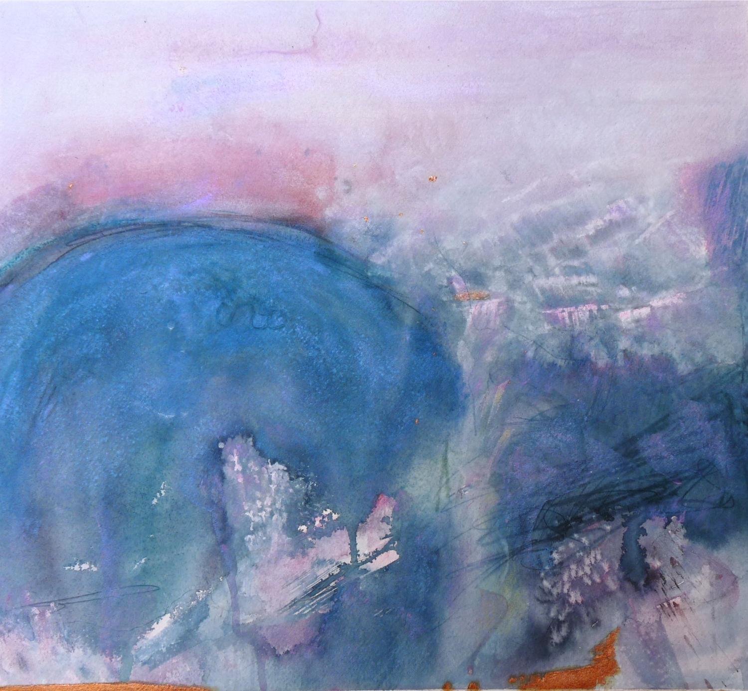 """WAVE     15 1/2"""" x 14"""" — Watercolor and copper leaf on w/c paper    16"""" x 22"""" matted    $600.00"""