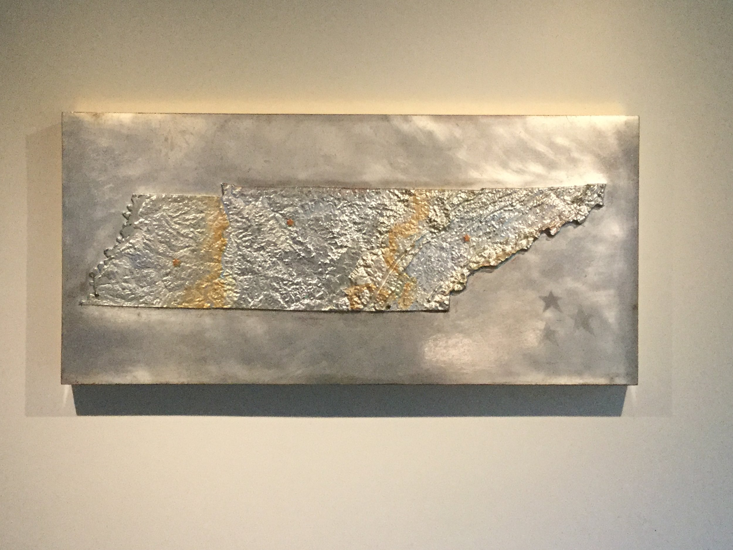 "TN 3  Oil on aluminum silver leaf on panel, 15 3/4"" x 33 1/2""  SOLD"
