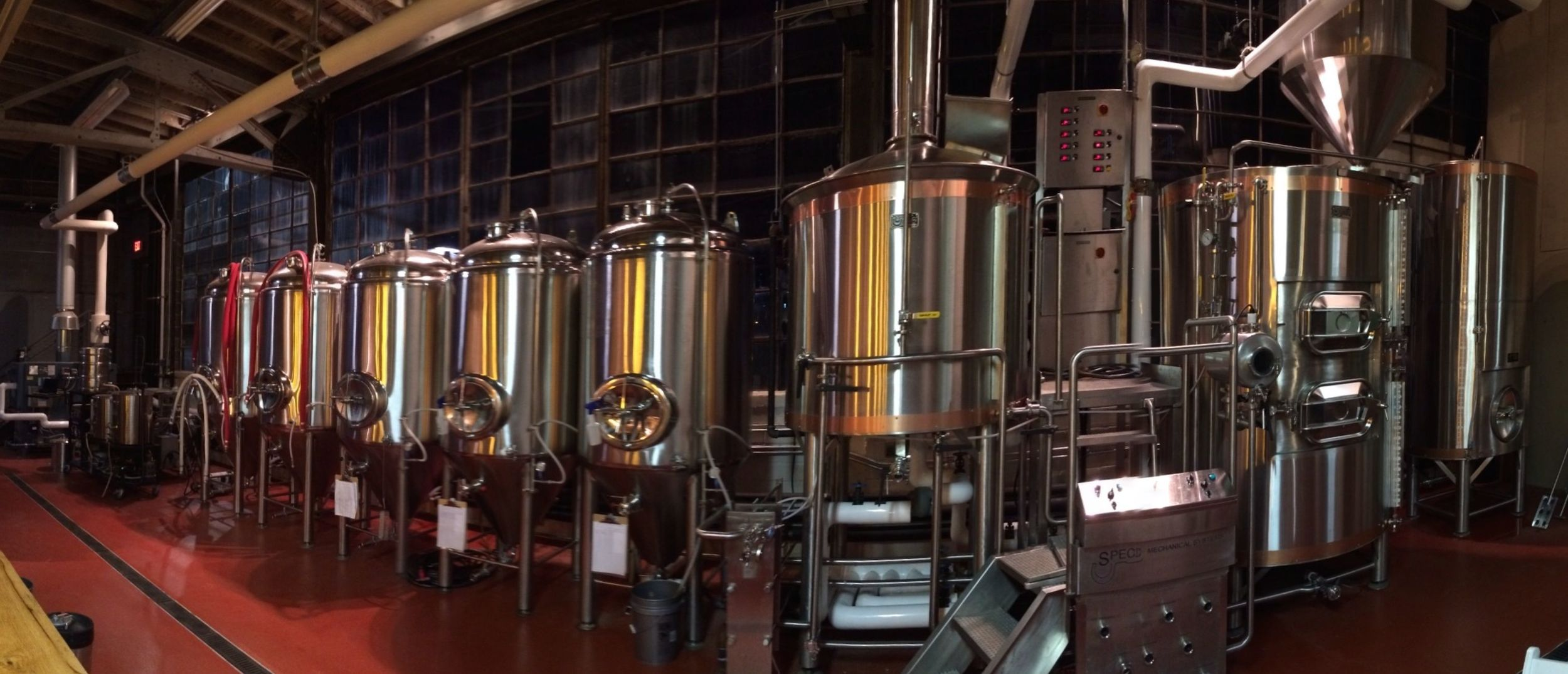 Shiny new equipment at Twin Leaf Brewery