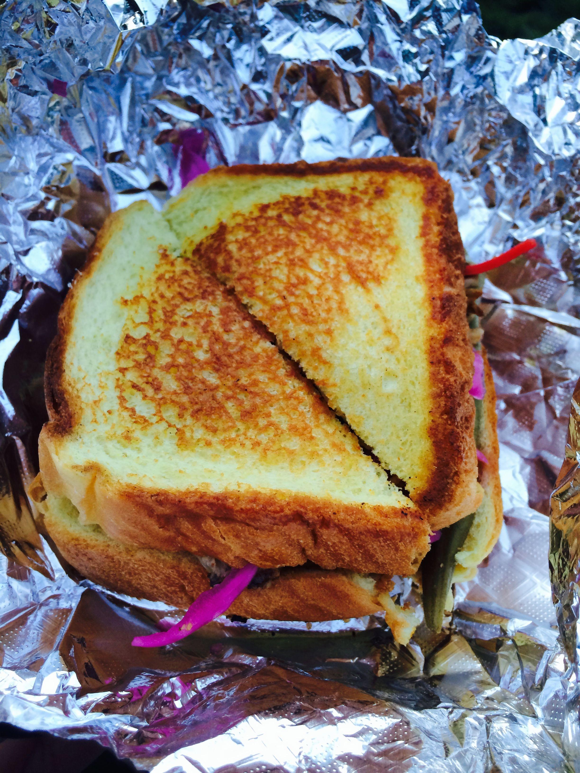 Lowdown's famous BBQ Sandwich with pickled ocra!
