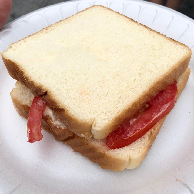 Simple #tomato sandwich with #dukesmayo at the Hendersonville Tomato Festival.