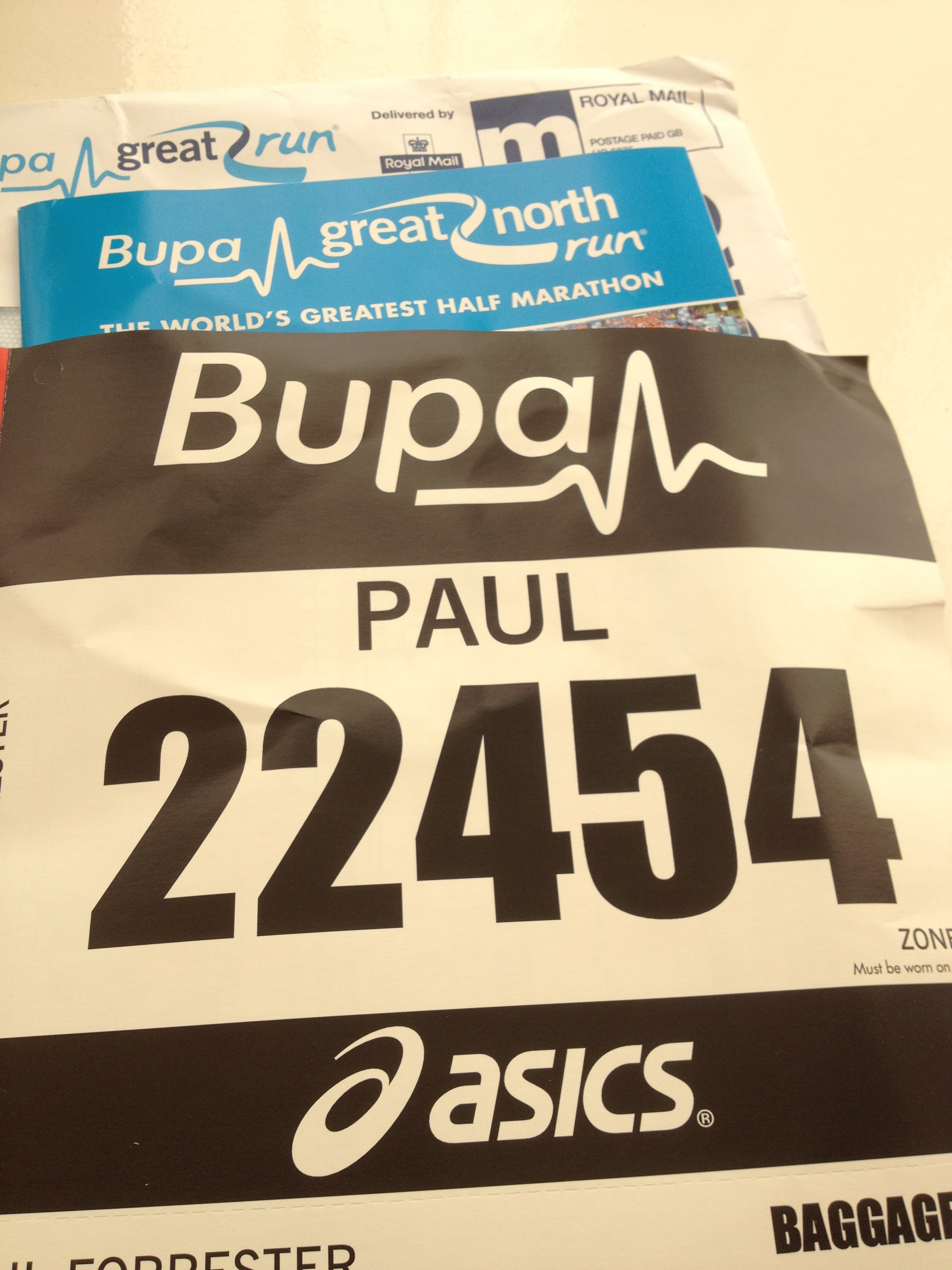 The Writing Man's Great North Run number
