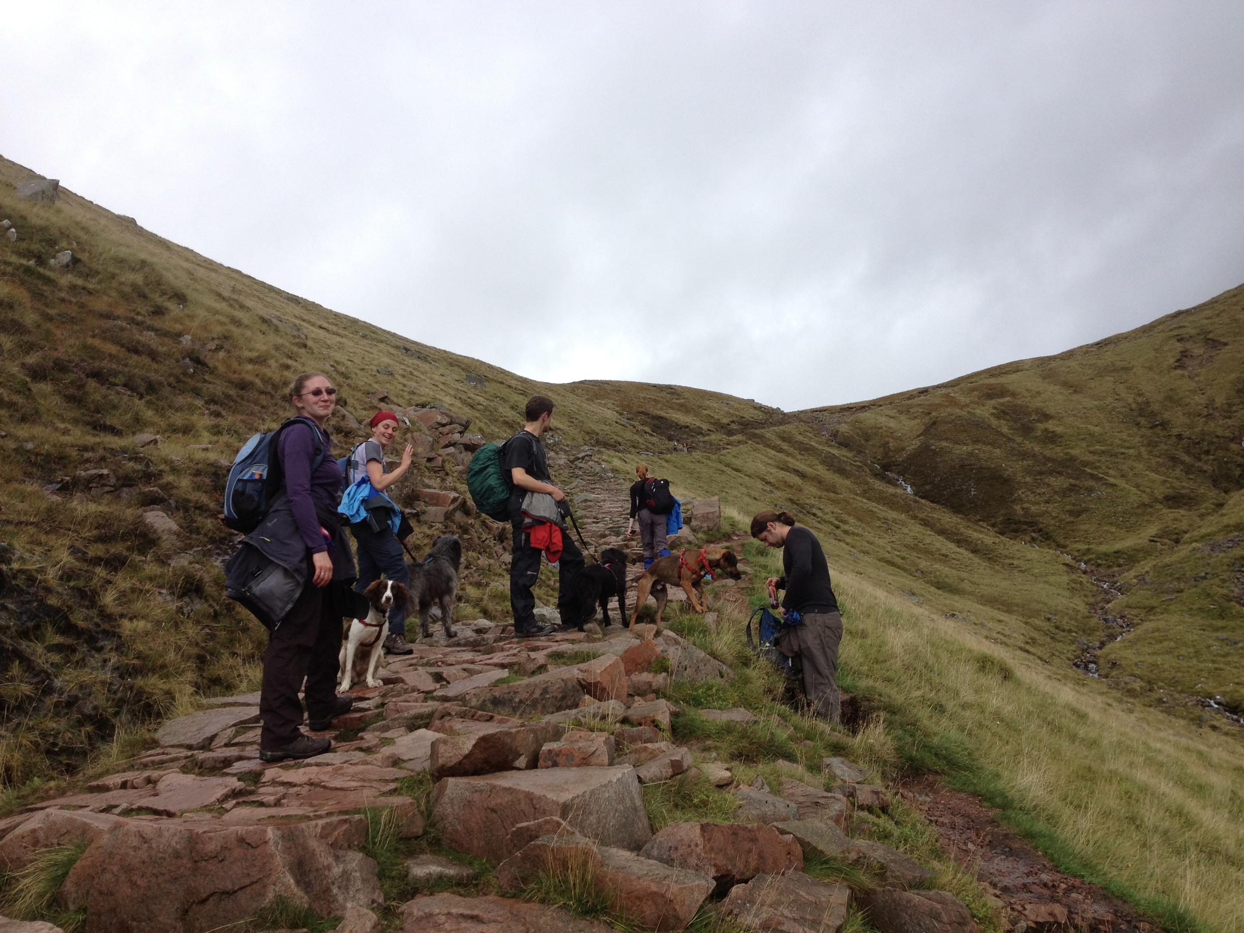 The Writing Man and his friends stop for refreshment on the walk up Ben Nevis