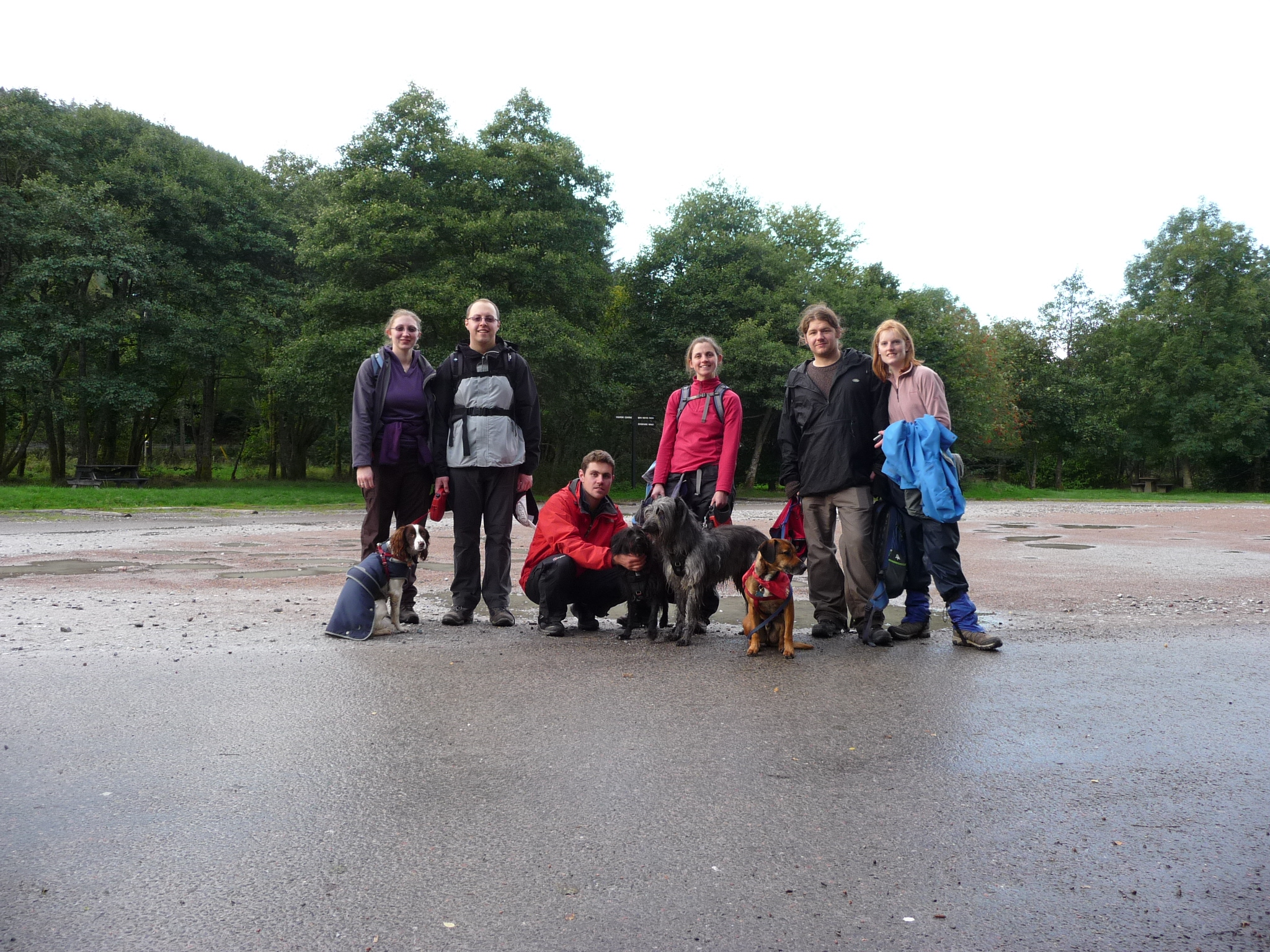 The Writing Man, his friends and their dogs celebrate their achievement at the Ben Nevis visitor centre car park
