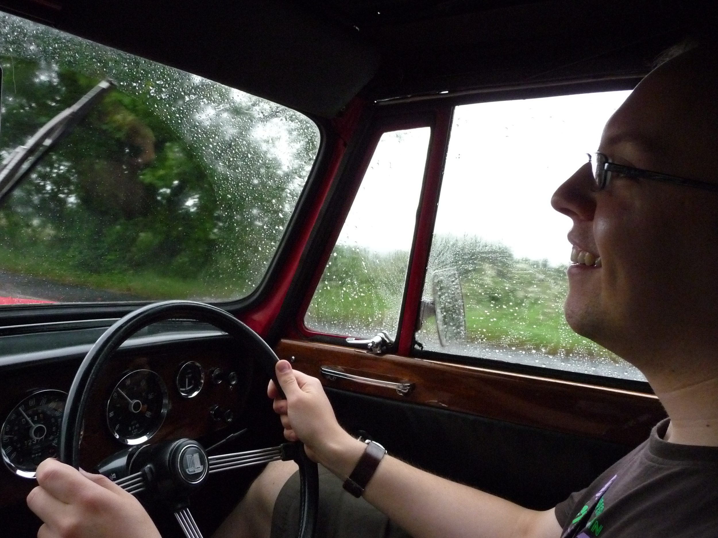 The Writing Man at the wheel of the Triumph Vitesse
