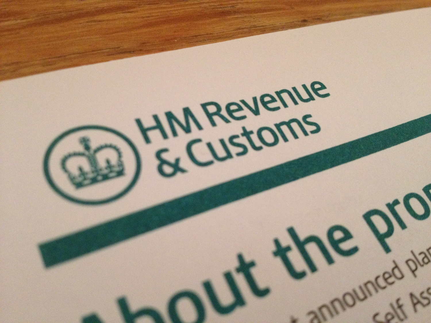 Letter heading of HMRC (photograph by Paul Forrester)