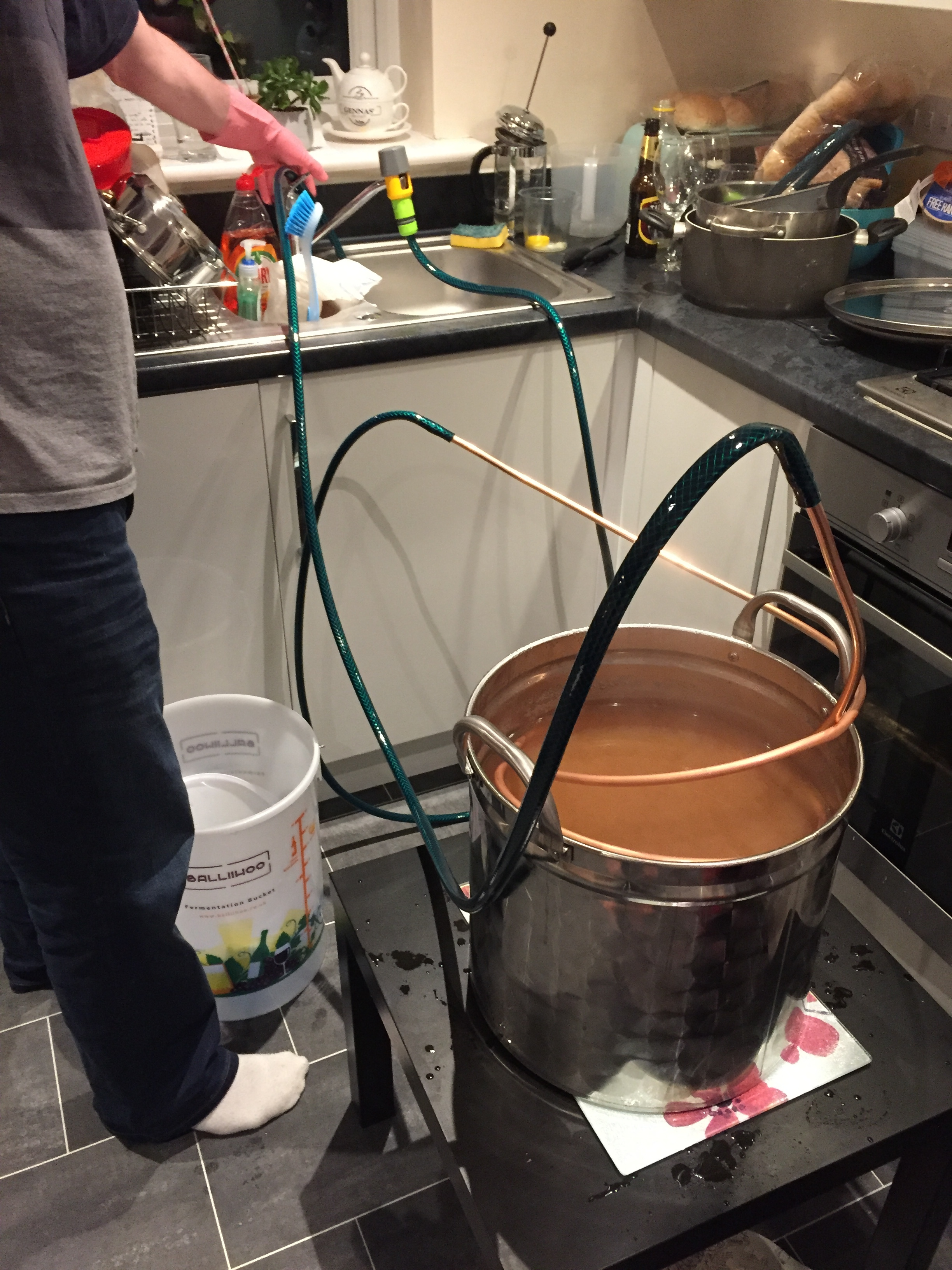Chilling the wort after the boil. Photograph by Paul Forrester.