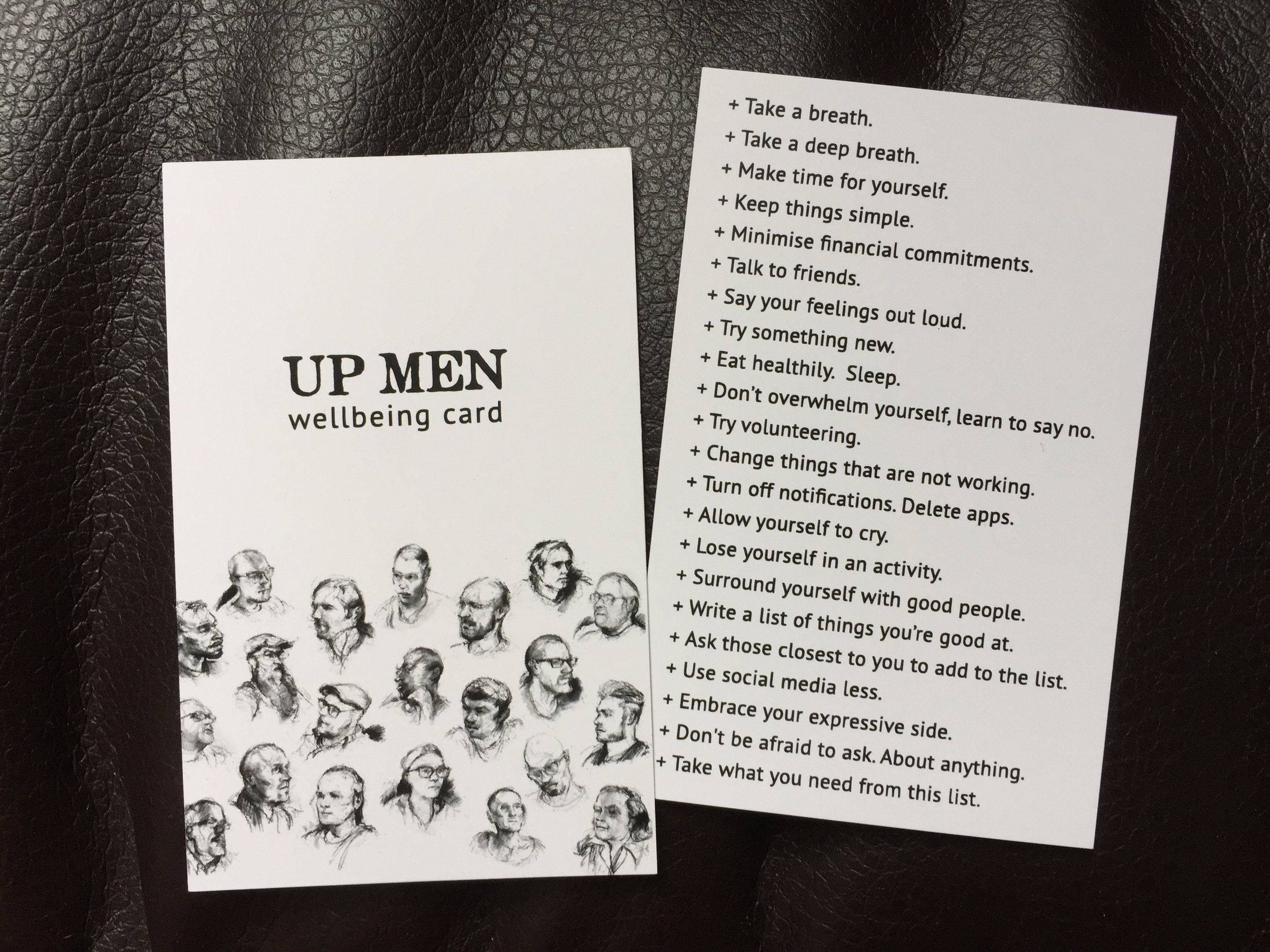 The original Man Up wellbeing cards.
