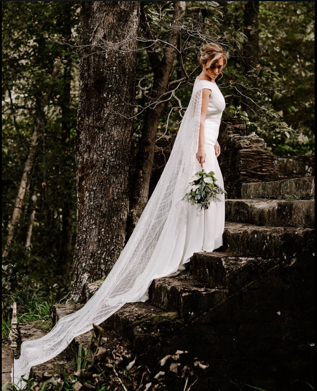 Gorgeous Bride on the Ruins Steps