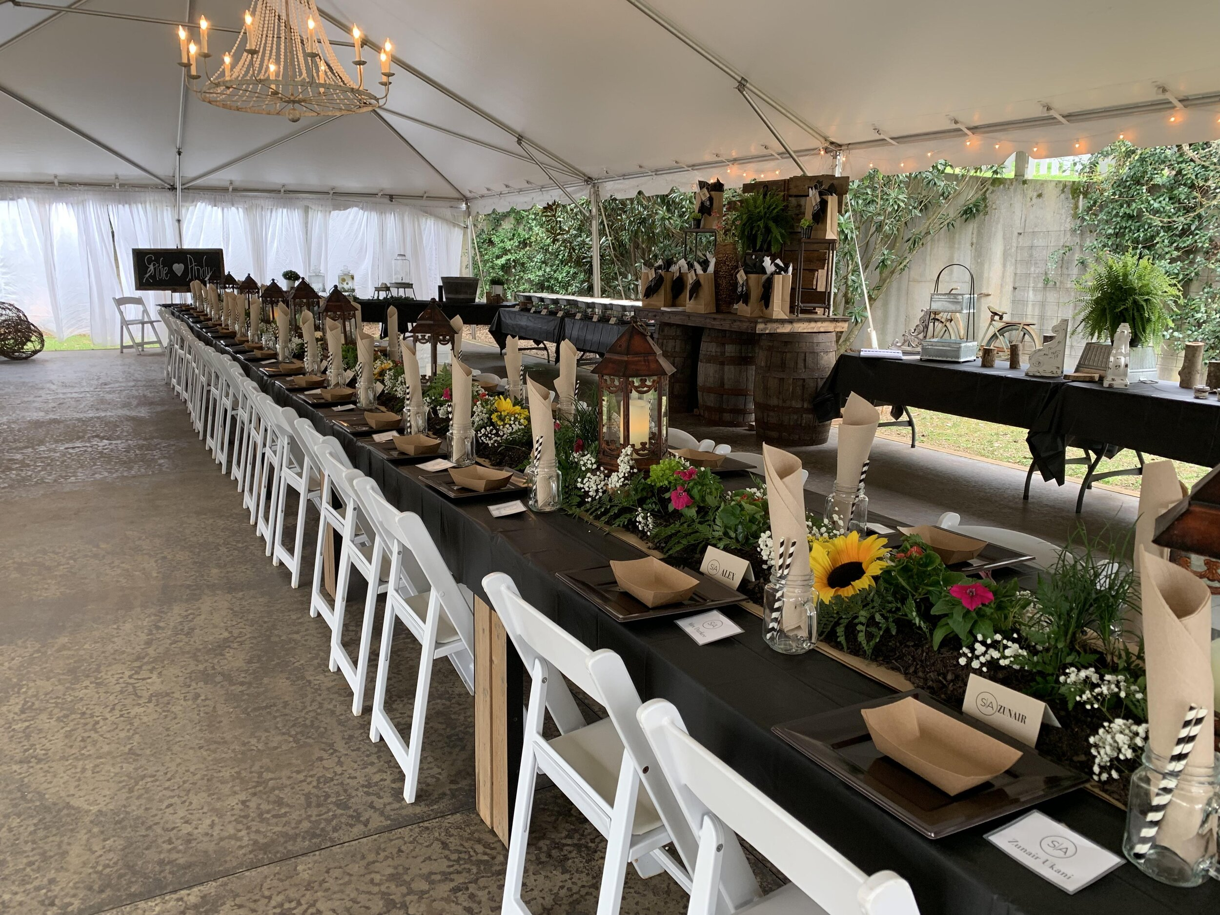 Rain or Shine, we've thought of everything. - Enjoy a beautifully decorated tent for your alternate reception space.