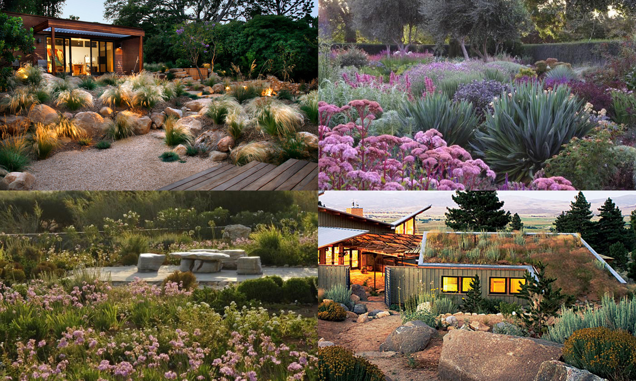 (clockwise from top left):  Grace Design , Glen Lambley via  Gardenista , Ed Canwell via Sunset, Gardenista