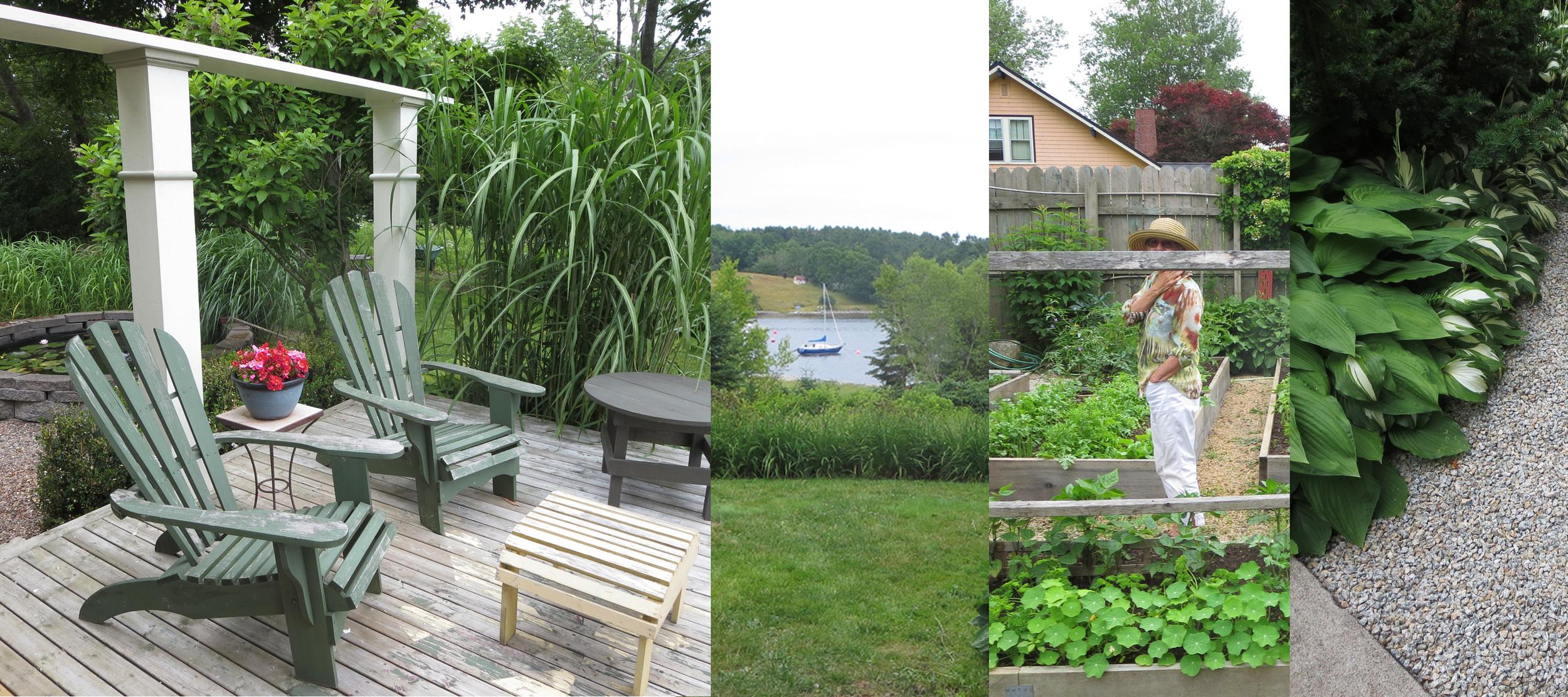 Free-standing deck, sea views, kitchen garden, gravel path