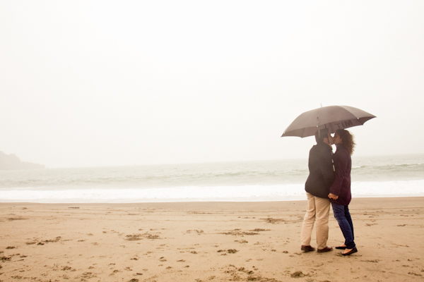Baker Beach engagement session in the rain