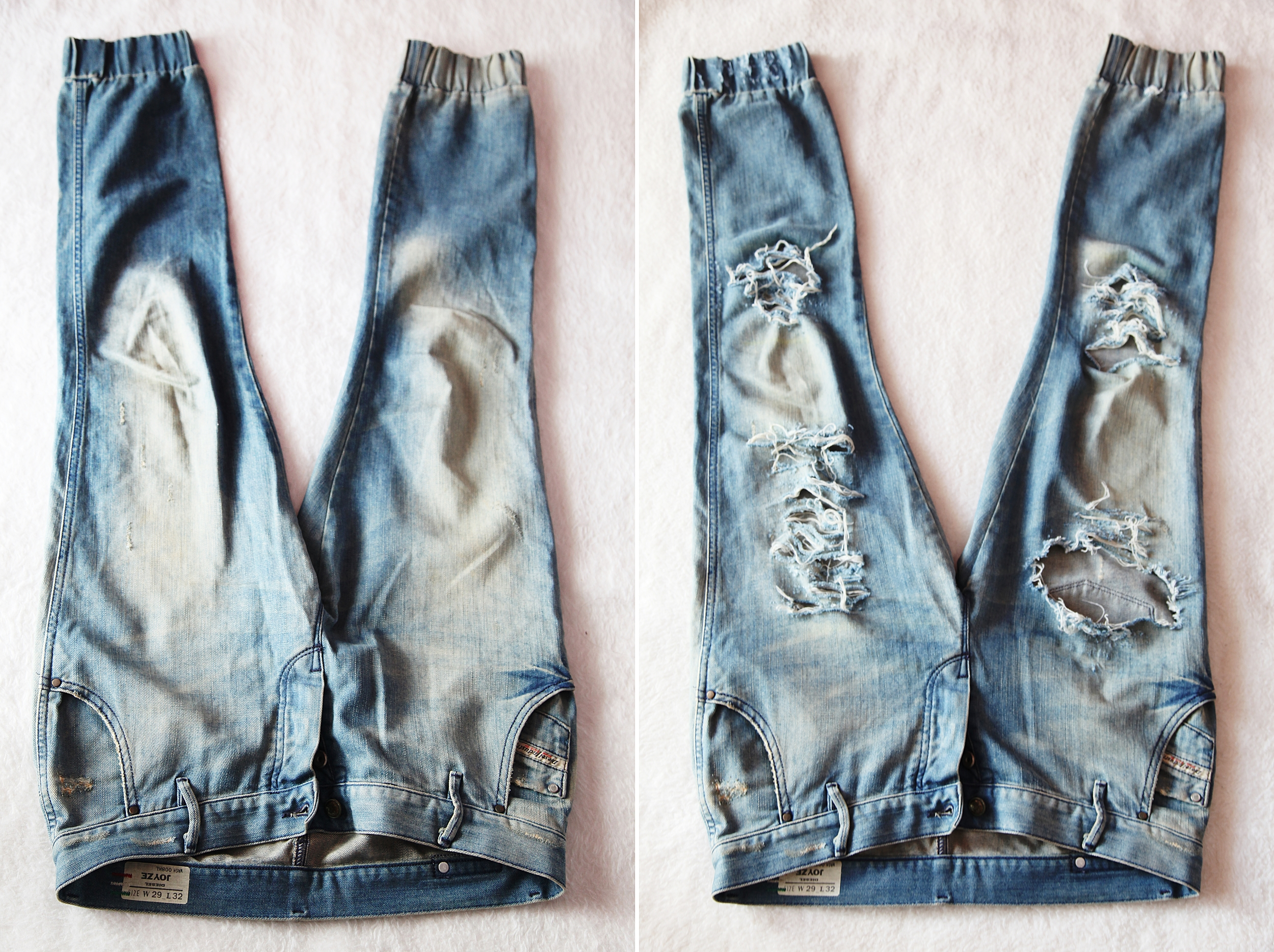 Before & After DIY Ripped BF Jeans