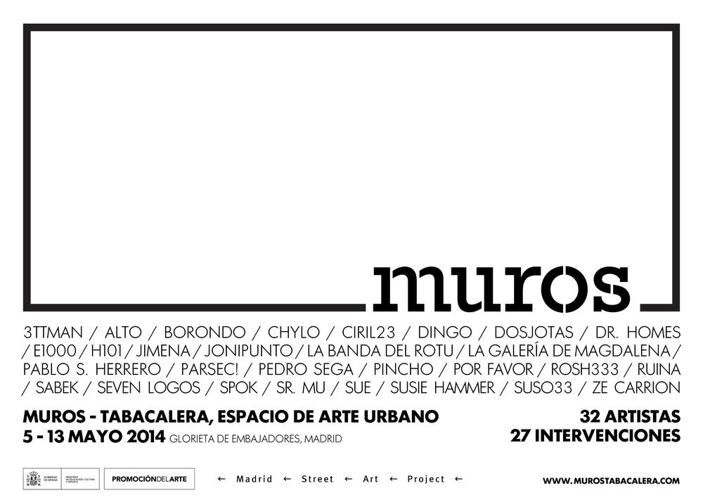 Cartel- con los nombres de los 32 artistas participantes