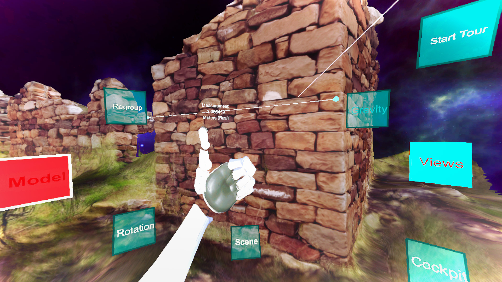 VR-based analysis of early 20th century sheepherder's ruins. Note the measurement tool.
