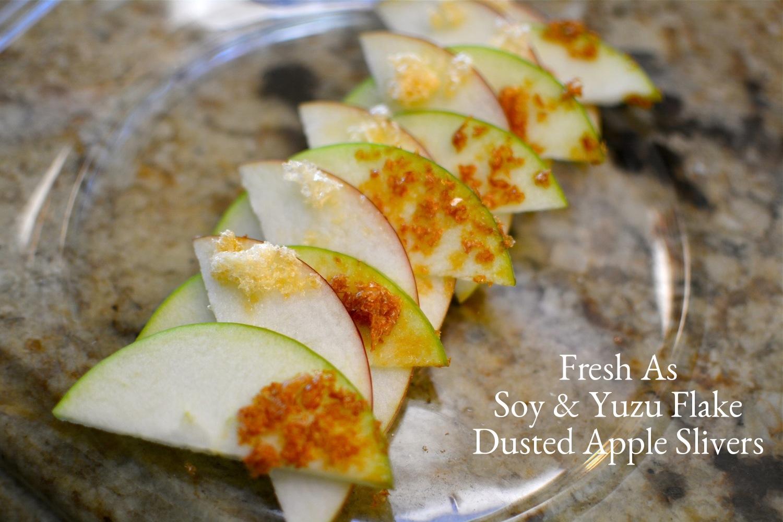 Fresh Apple Slivers dusted w yuzu & Soy flakes.JPG