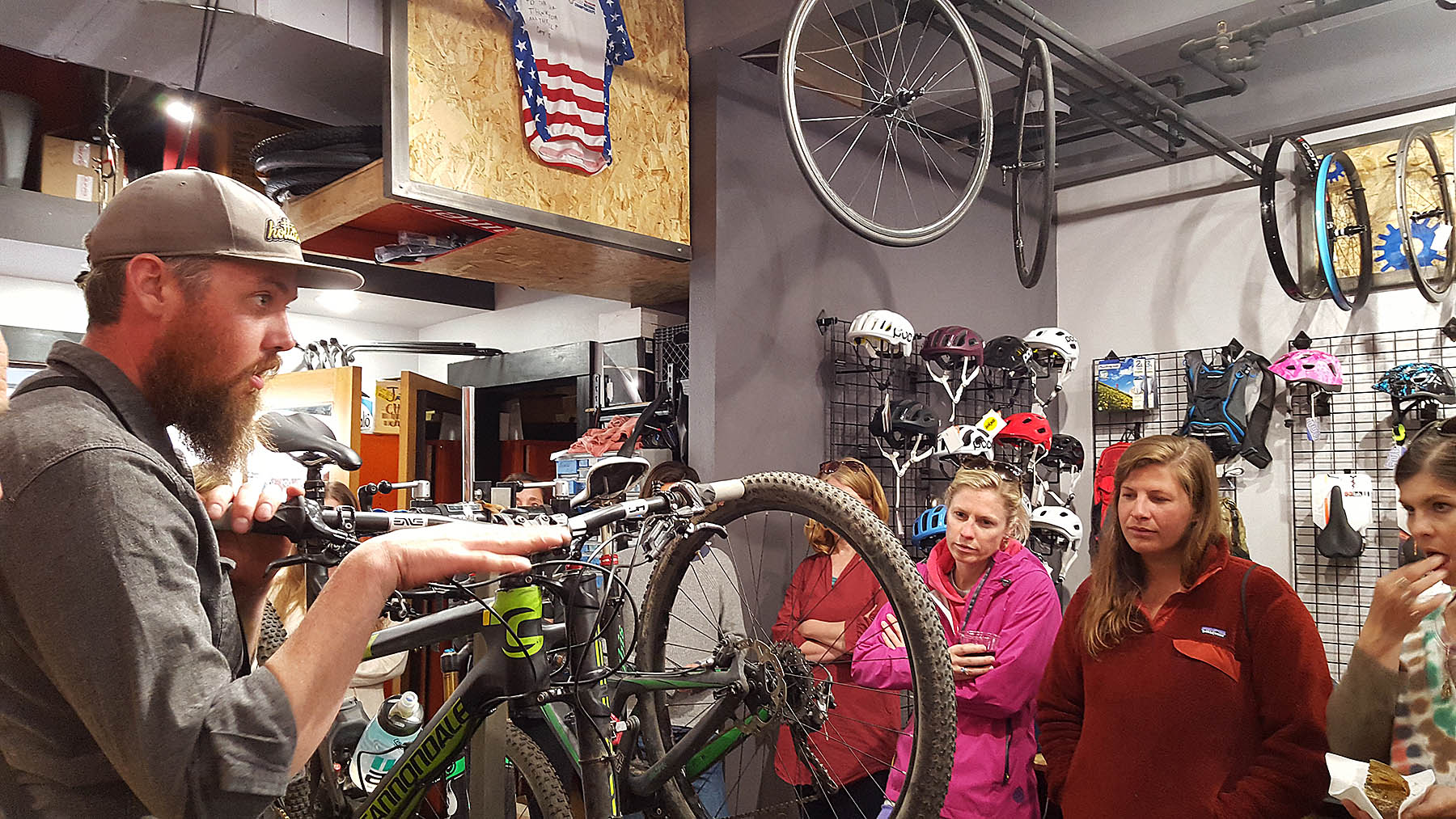 Learning how to set up their bikes