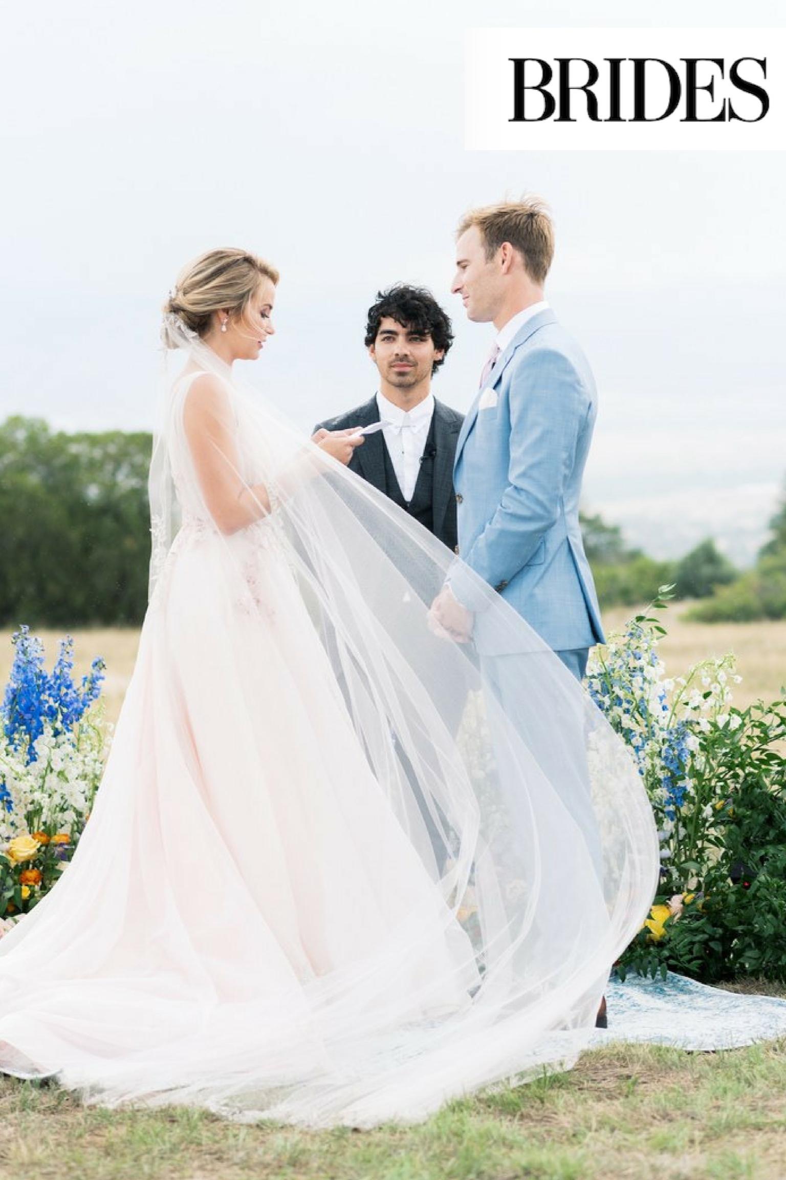 BRIDES MAGAZINE - Bride Haley and husband Brandon's wedding officiated by Joe Jonas